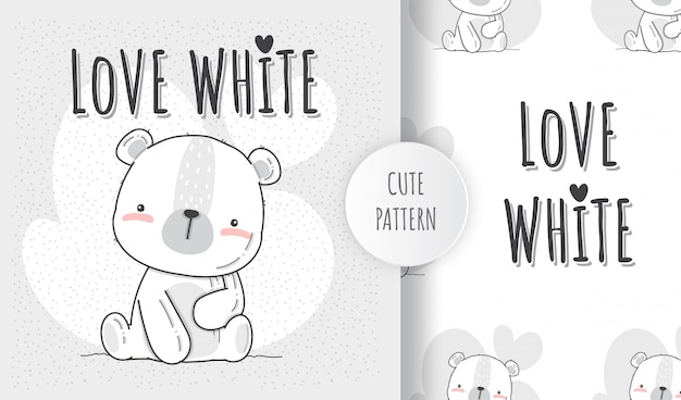 Flat seamless pattern cute animal white bear