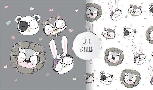 Flat seamless pattern cute animals face