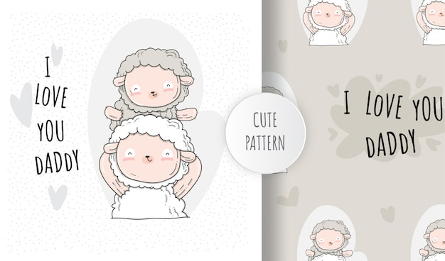 Flat seamless pattern cute baby sheep