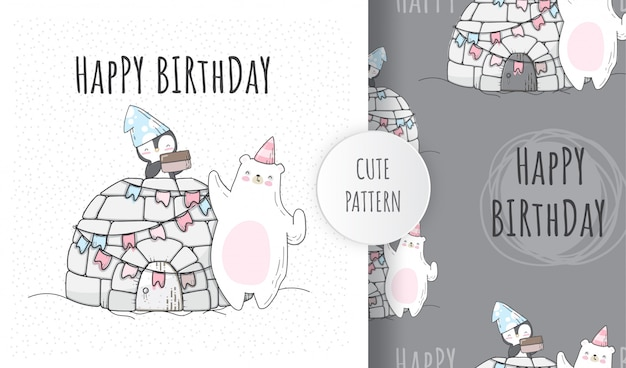 Flat seamless pattern cute penguin birthday party with bear