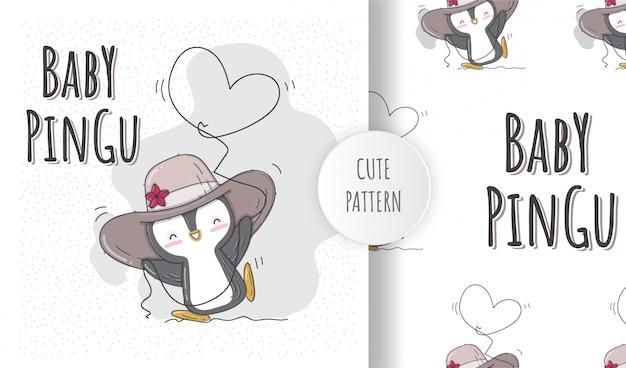 フラットのシームレスパターンかわいいペンギン