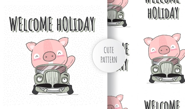 Flat seamless pattern cute pig animal on car