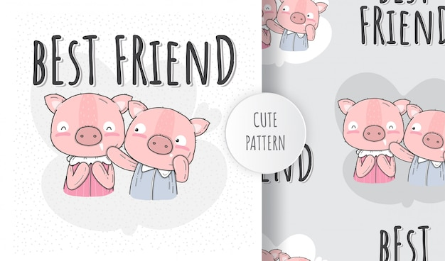 Flat seamless pattern cute pig with friend