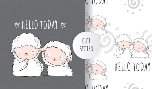 Flat seamless pattern cute sheep and friend