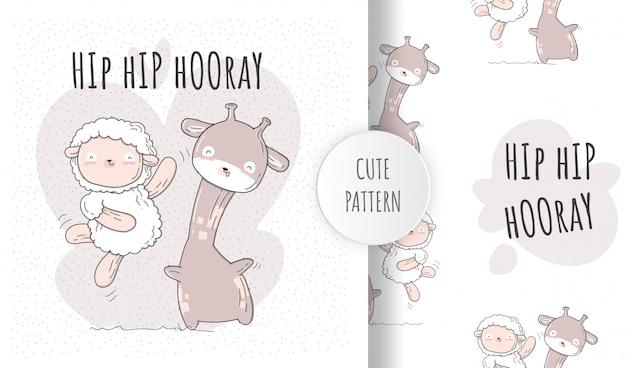 Flat seamless pattern cute sheep happy dancing