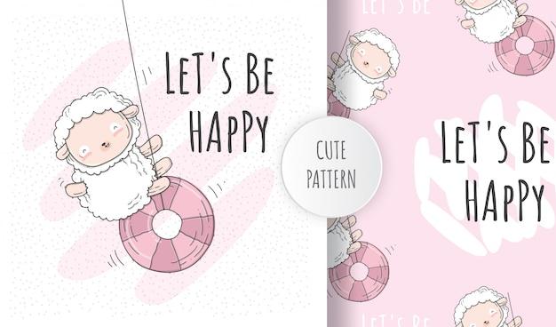 Flat seamless pattern  cute sheep playing  on the swing