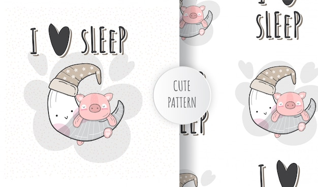 Flat seamless pattern cute sleeping pig on the moon