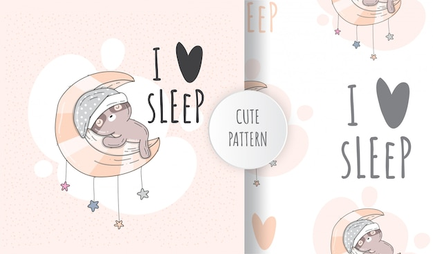Flat seamless pattern cute sloth sleeping on the moon