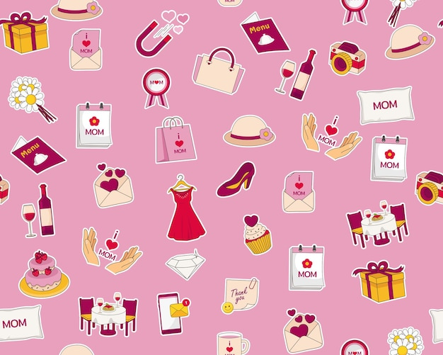 Flat seamless pattern of happy mothers day elements
