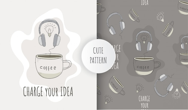 Flat seamless pattern illustration headphone with coffee cup