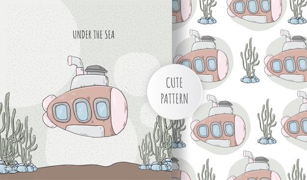 Flat seamless pattern illustration submarine