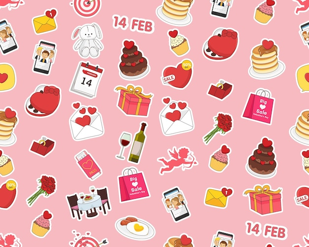 フラットなシームレス パターン バレンタイン