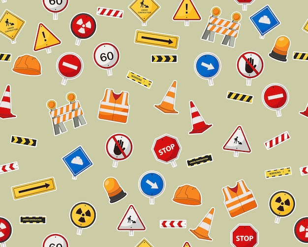 Flat seamless pattern with under construction elements