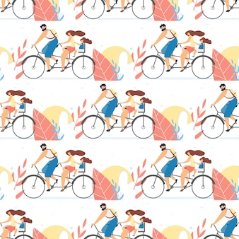 Flat seamless pattern with family on tandem bike