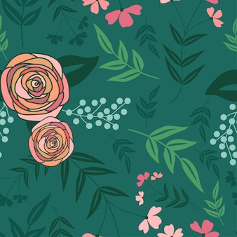 Flat seamless pattern with rose flower bouquet