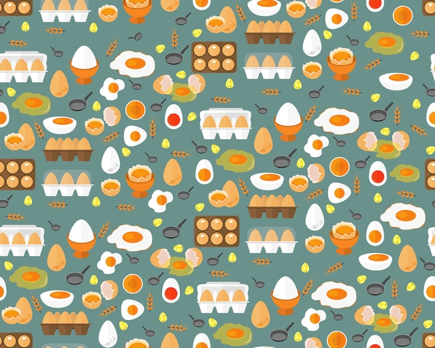 Flat seamless texture pattern farm fresh eggs