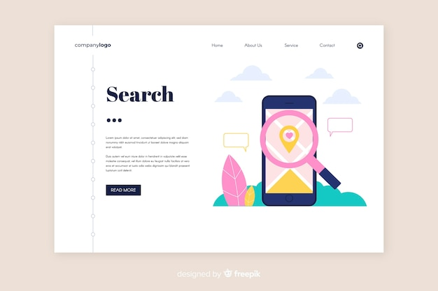 Flat search landing page template