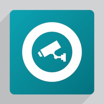 Flat security camera icon, white on green background
