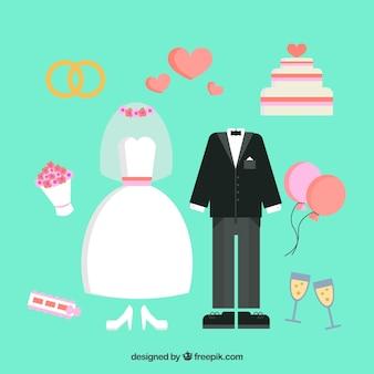 Selezione piatta degli elementi di nozze decorativi