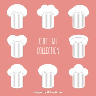 Selezione piatta di otto grandi cappelli di chef