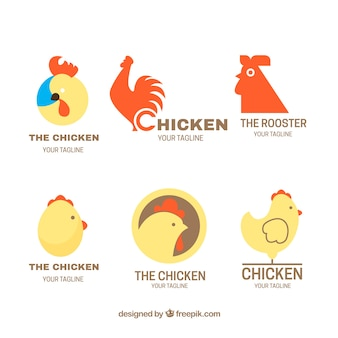 Flat selection of fantastic logos with chickens