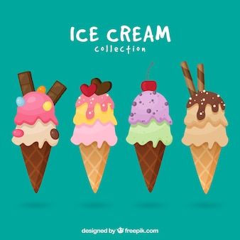 Flat selection of four appetizing ice cream cones