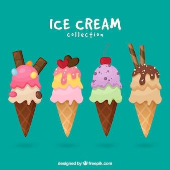 食欲をそそる4つのアイスクリームコーンのフラットセレクション