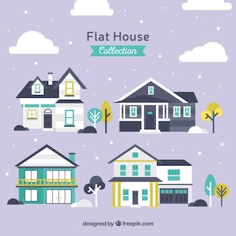 Плоский выбор больших фасадов домов