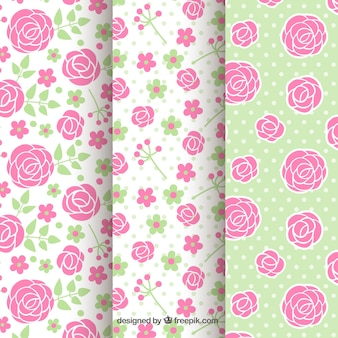 Flat selection of patterns with roses and dots