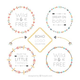 Плоский выбор круглых логотипов boho