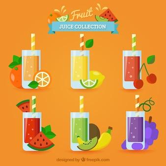 6種類の美味しいフルーツジュースのフラットセレクション