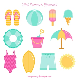 Flat selection of summer objects in pastel colors