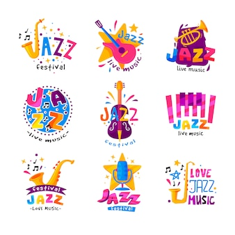 Flat set of abstract logos for jazz festival. bright creative emblems with musical instruments and colorful text