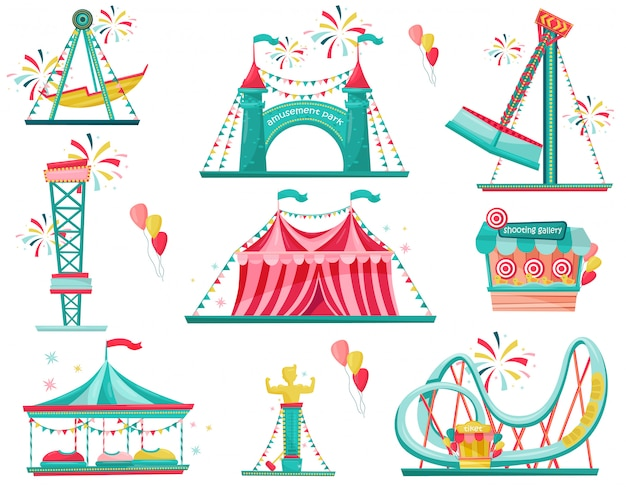 Flat set of amusement park icons. funfair attractions, entrance gate, circus tent and shooting gallery