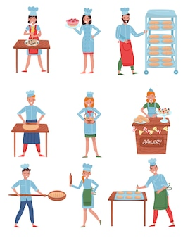 Flat  set of bakers characters. happy people in working uniform. young men and women working in bakery