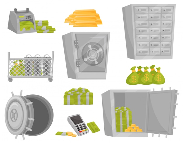 Flat set of bank icons. banknote counter, gold bars, bags of money, safe door, deposit boxes. financial theme