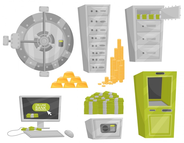 Flat set of bank icons. door of safe, deposit boxes, gold bars and coins, pile of stacked cash, atm