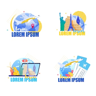 Flat set banner illustration travel around earth