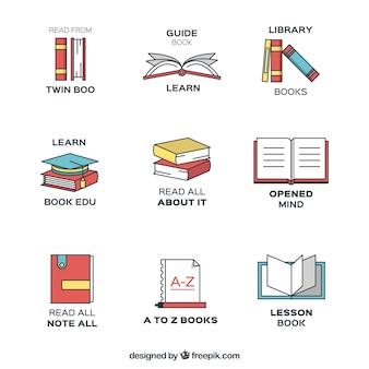 Flat set of book logos