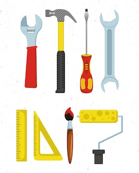 Flat set of carpentry tools