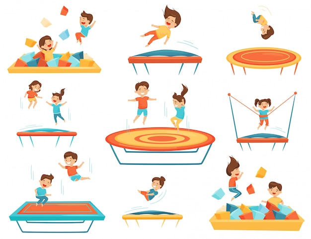 Flat set of children jumping on trampolines and playing in pool with soft paralon cubes. kids leisure