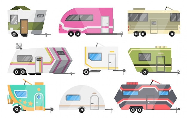 Flat   set of classic camper vans and trailers. recreational vehicles. home on wheels. comfort cars, caravan van for rv family trip to nature.