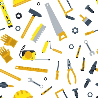 Flat set of construction tools pattern on white background illustration