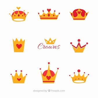 Flat set of crowns with red elements