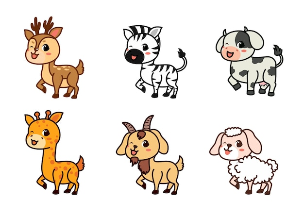 Flat set of cute deer, zebra, cow and more in different actions. adorable forest animals on a white