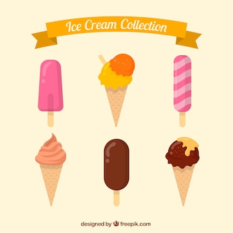 Flat set of delicious ice creams