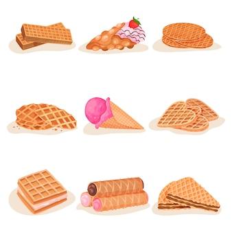 Flat   set of delicious waffle desserts. tasty ice-cream, sweet snacks for breakfast. street fast food