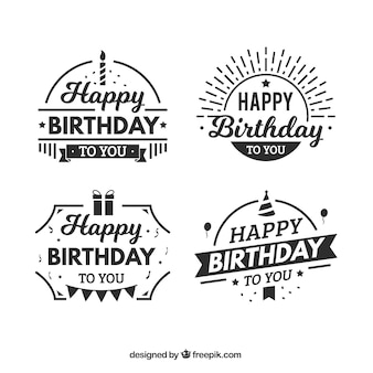 Flat set of fantastic birthday stickers
