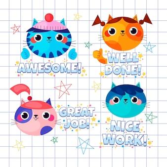Flat set of great job stickers