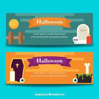 Flat set of halloween banners